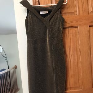 Women's mid-length sparkly off the shoulder dress